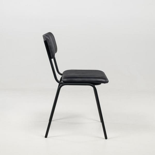 Chaise tendance en cuir vintage empilable et rembourrée avec surpiqûres - Safran - 13