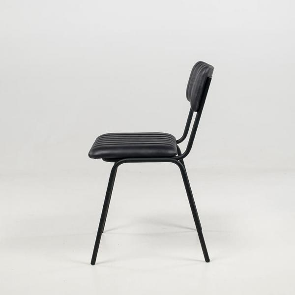 Chaise en cuir vintage empilable et rembourrée avec surpiqûres - Safran - 14