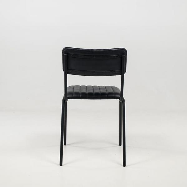 Chaise contemporaine en cuir vintage empilable et rembourrée avec surpiqûres - Safran - 15