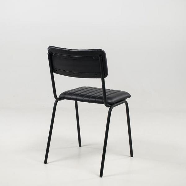 Chaise rétro en cuir vintage empilable et rembourrée avec surpiqûres - Safran - 16