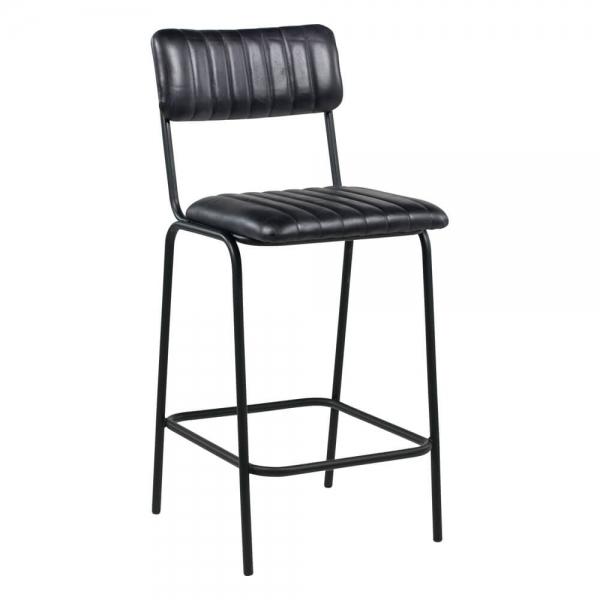 Tabouret mi-hauteur en cuir vintage noir rembourré - Safran - 1