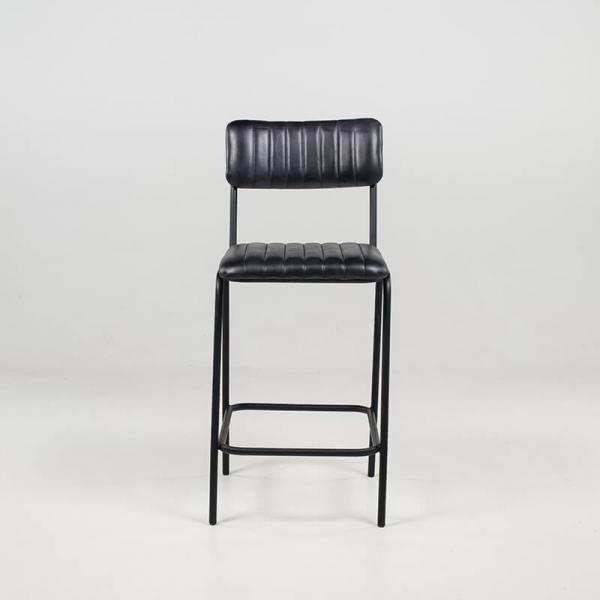 Tabouret tendance mi-hauteur en cuir vintage noir rembourré - Safran - 3