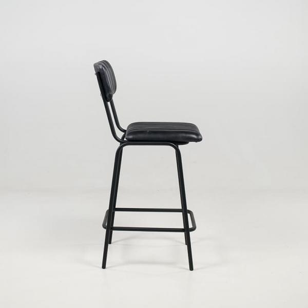 Tabouret moderne mi-hauteur en cuir vintage noir rembourré - Safran - 4