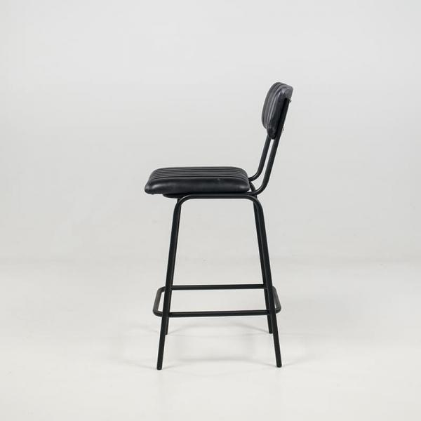 Tabouret rétro mi-hauteur en cuir vintage noir rembourré - Safran - 5