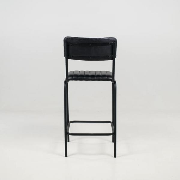 Tabouret vintage mi-hauteur en cuir vintage noir rembourré - Safran - 6