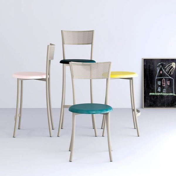 Chaise fabriquée en France contemporaine en synthétique et métal dossier ajouré - Wasabi - 2