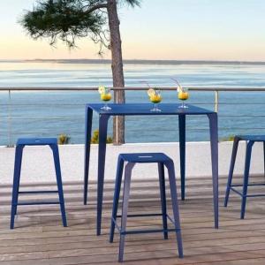 Table snack industrielle carrée pour jardin en métal bleu - Valence