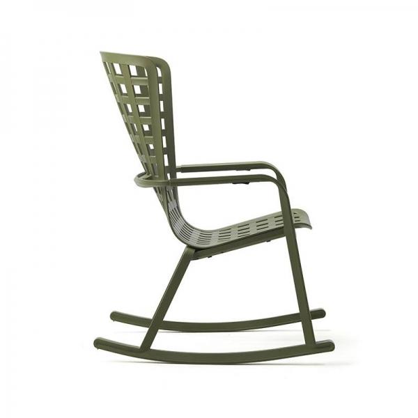 Rocking-chair design extérieur réglable et empilable en polypropylène vert – Folio - 3