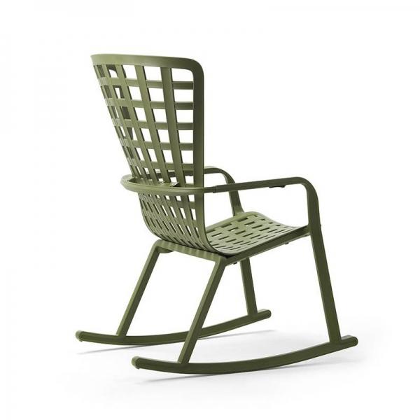Rocking-chair de jardin tendance empilable en plastique vert – Folio - 4