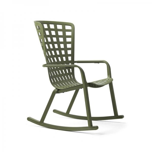 Rocking-chair moderne extérieur inclinable et empilable vert– Folio - 2