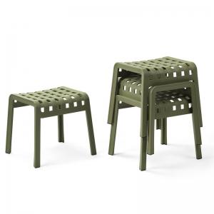 Tabouret bas design empilable en polypropylène vert - Poggio