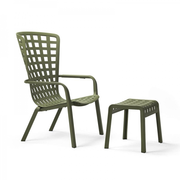 Petit tabouret de jardin design empilable en plastique vert - Poggio - 3
