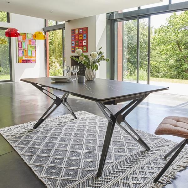 Table céramique design extensible pieds en X  - 1