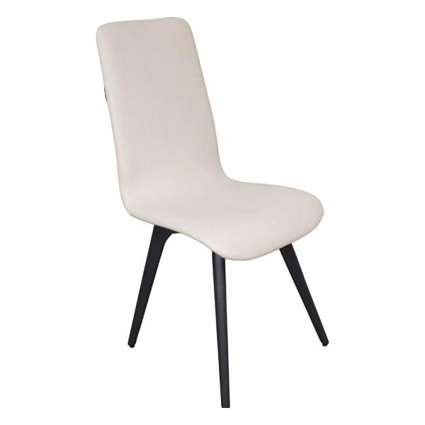 Chaise moderne confortable en tissu blanc et bois fabrication française - Lotus - 1