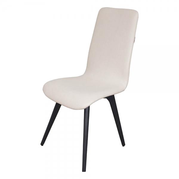 Chaise moderne confortable en tissu blanc et bois made in France - Lotus - 2