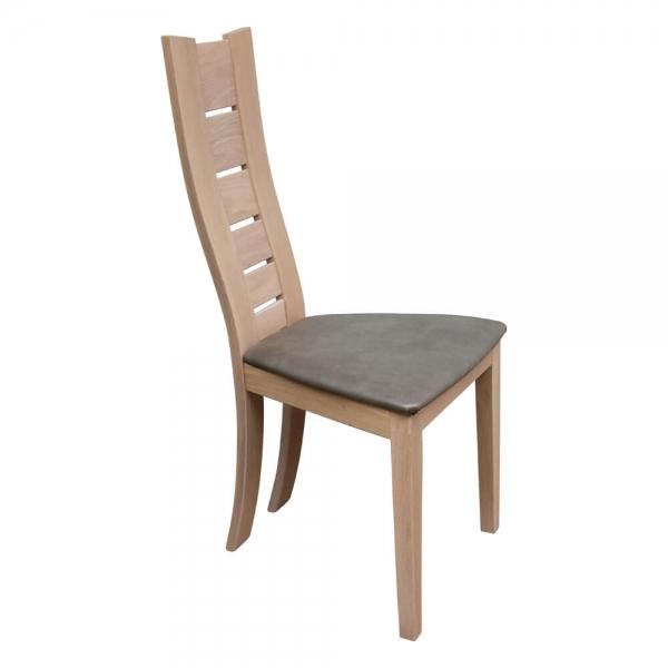 Chaise contemporaine en bois massif et synthétique gris - Anis 1450 - 1