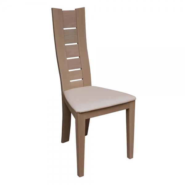 Chaise de séjour en bois massif et revêtement blanc - Anis 1450 - 4
