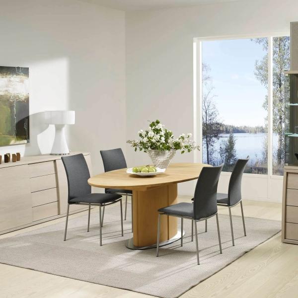 Table ovale en bois clair extensible et pied central - SM72-73 - 2