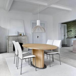 Table ovale en bois clair avec allonge et pied central - SM72-73