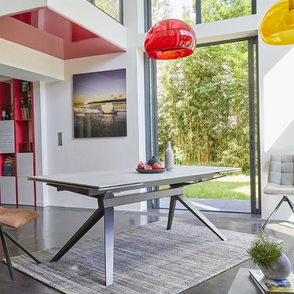 Table extensible de salle à manger design en céramique - Luna - 1