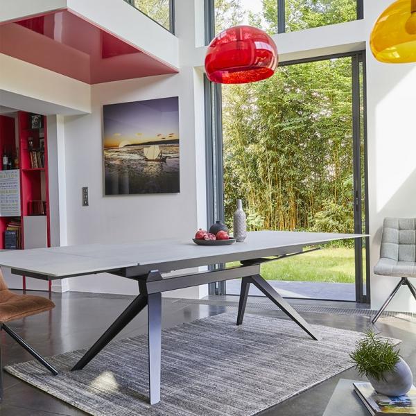 Table de salle à manger design en céramique avec allonges - Luna - 2