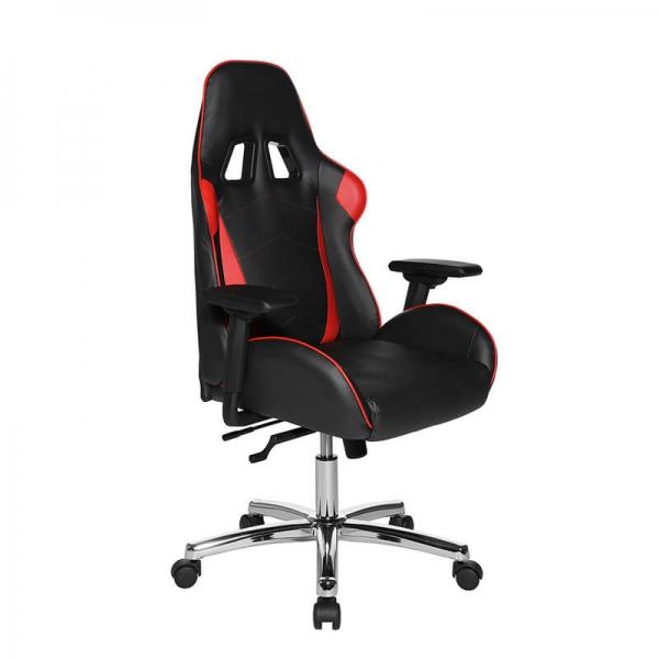Fauteuil gaming ergonomique rouge et noir avec roulettes chromés - Speed chair 2 - 15