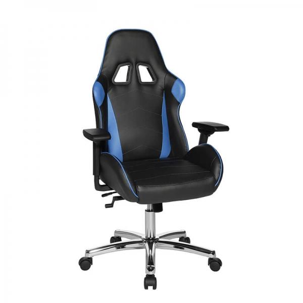 Fauteuil pour jouer aux jeux vidéo noir et bleu avec roulettes - Speed chair 2 - 27