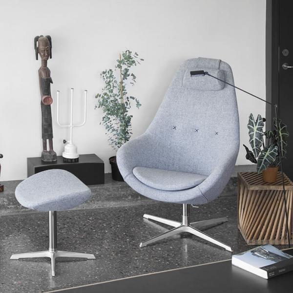 Fauteuil relax inclinable design en tissu bleu - Kokon  - 1