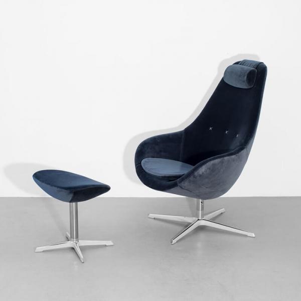 Fauteuil ergonomique design inclinable en tissu velours bleu - Kokon  - 6