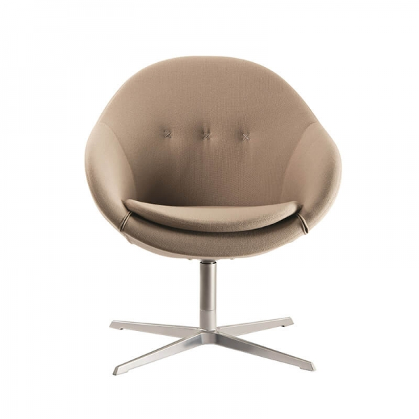 Fauteuil pivotant confortable en tissu beige design - Kokon club - 3