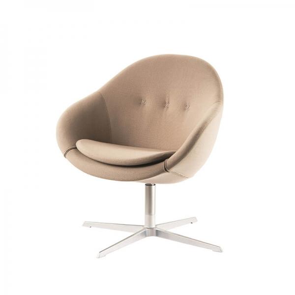 Fauteuil design confortable en tissu beige - Kokon club - 4