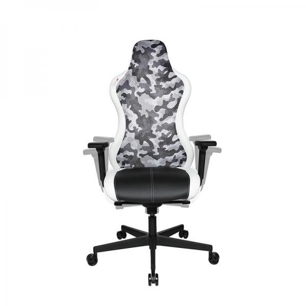 Chaise gamer design dossier filet camouflage blanc - Sitness - 2