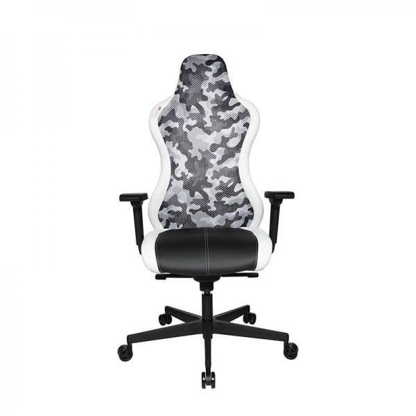 Chaise de bureau gaming dossier filet camouflage blanc - Sitness - 3