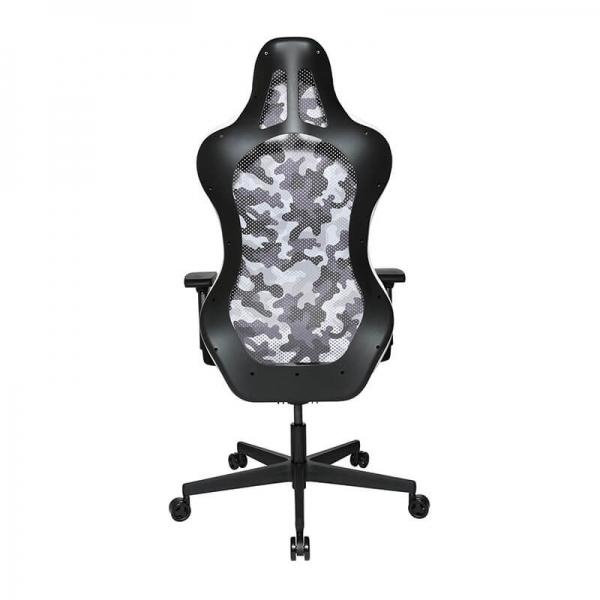 Chaise de bureau gamer dossier filet camouflage blanc - Sitness - 4