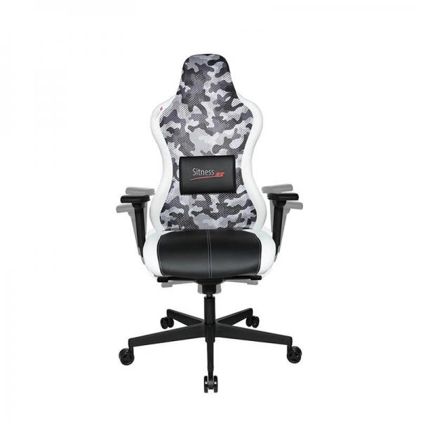 Chaise pour jeux vidéo dossier filet camouflage blanc - Sitness - 8