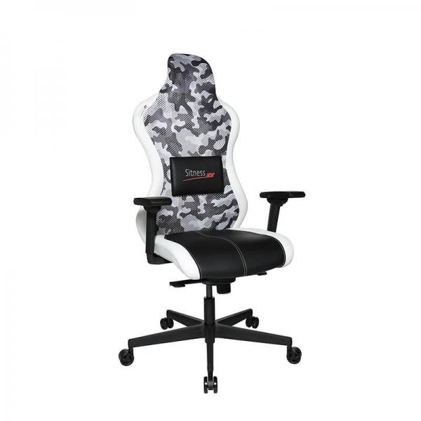 Chaise gamer design blanc avec roulettes - Sitness - 12