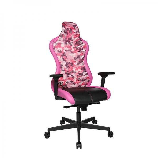 Chaise de bureau gamer rose avec accoudoirs réglables - Sitness - 17