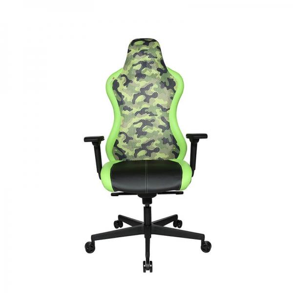 Chaise de gamer design dossier filet camouflage vert - Sitness - 23