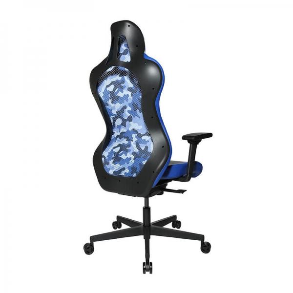 Chaise gaming bleue avec accoudoirs réglable en hauteur - Sitness - 35