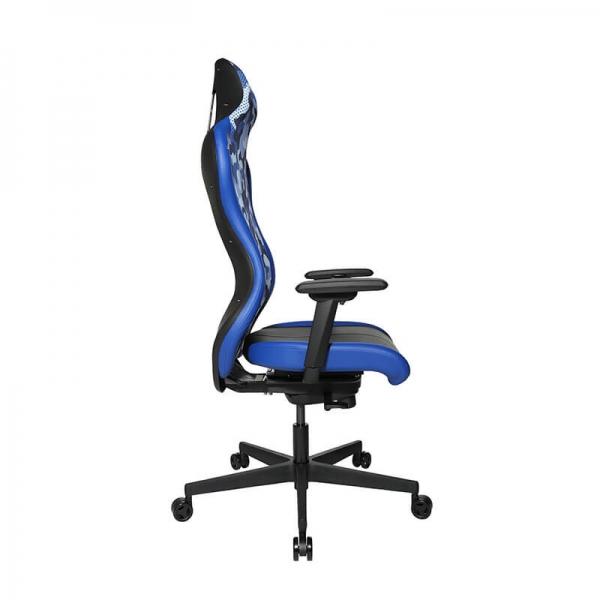 Fauteuil gaming bleu avec roulettes - Sitness - 36