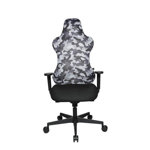 Chaise de gaming design tissu camouflage gris - Sitness - 2