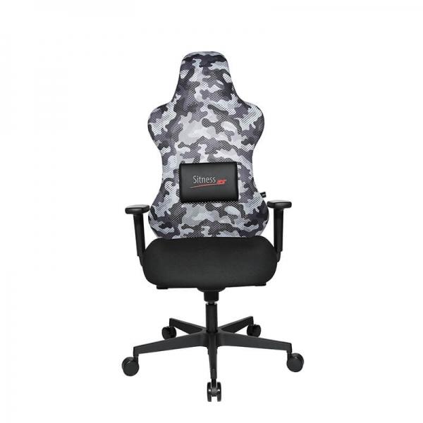 Chaise de gamer grise avec coussin lombaire aimanté - Sitness - 6