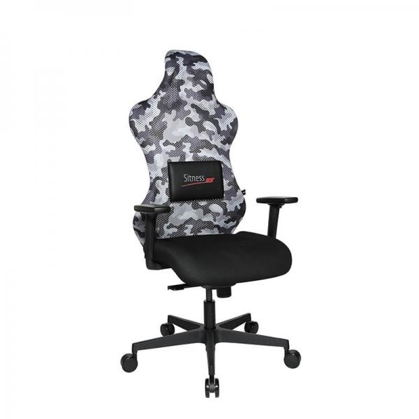 Siège de gamer réglable avec dossier en tissu gris et coussin lombaire - Sitness - 10