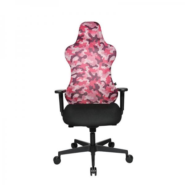 Chaise gaming rose en tissu motifs camouflage - Sitness - 11