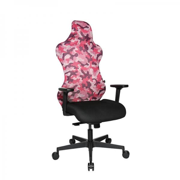 Fauteuil gamer rose en tissu camouflage - Sitness - 15