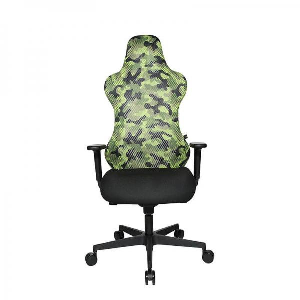 Chaise de bureau gamer verte revêtement en tissu - Sitness - 22
