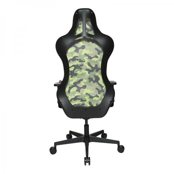 Chaise bureautique gamer avec revêtement en tissu vert respirant - Sitness - 23