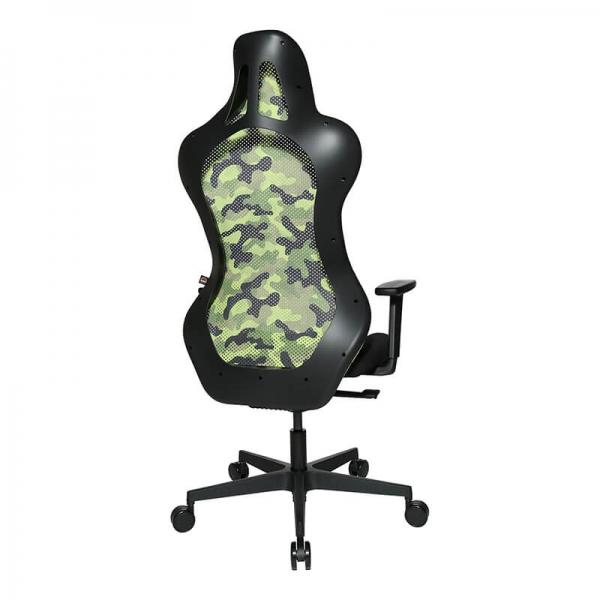 Chaise gamer verte en tissu avec dossier inclinable - Sitness - 25