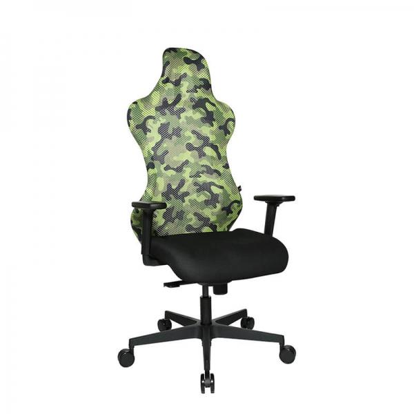 Chaise de bureau gaming verte effet camouflage - Sitness - 26