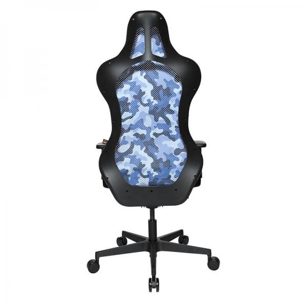 Chaise de gaming motif camouflage bleu en tissu - Sitness - 33